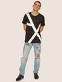 ARMANI EXCHANGE LOOSE-FIT OVERSIZED LINE LOGO CREW Graphic T-shirt Man d