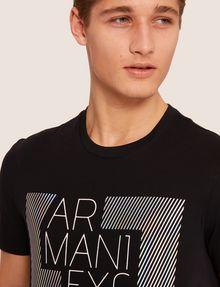 ARMANI EXCHANGE SLIM-FIT OPTICAL STRIPE METALLIC CREW Logo T-shirt [*** pickupInStoreShippingNotGuaranteed_info ***] b