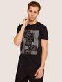 ARMANI EXCHANGE SLIM-FIT OPTICAL STRIPE METALLIC CREW Logo T-shirt [*** pickupInStoreShippingNotGuaranteed_info ***] f