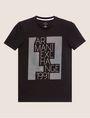 ARMANI EXCHANGE SLIM-FIT OPTICAL STRIPE METALLIC CREW Logo T-shirt [*** pickupInStoreShippingNotGuaranteed_info ***] r