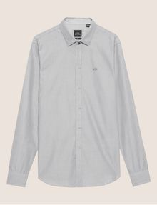 ARMANI EXCHANGE SLIM-FIT MICRO-STRIPE LOGO SHIRT Striped Shirt [*** pickupInStoreShippingNotGuaranteed_info ***] r