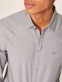 ARMANI EXCHANGE SLIM-FIT MICRO-STRIPE LOGO SHIRT Striped Shirt [*** pickupInStoreShippingNotGuaranteed_info ***] b