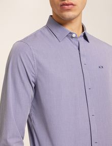 ARMANI EXCHANGE SLIM-FIT MICRO-STRIPE LOGO SHIRT Checked Shirt [*** pickupInStoreShippingNotGuaranteed_info ***] b