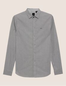 ARMANI EXCHANGE SLIM-FIT MICRO-STRIPE LOGO SHIRT Checked Shirt [*** pickupInStoreShippingNotGuaranteed_info ***] r