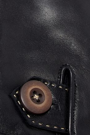 AGNELLE Alexandra button-detailed leather gloves