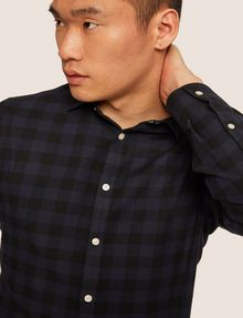 ARMANI EXCHANGE REGULAR-FIT CHECK FLANNEL SHIRT Long-Sleeved Shirt [*** pickupInStoreShippingNotGuaranteed_info ***] b
