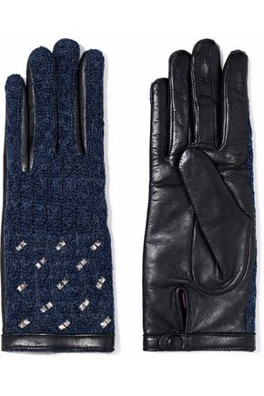 AGNELLE Studded alpaca and leather gloves