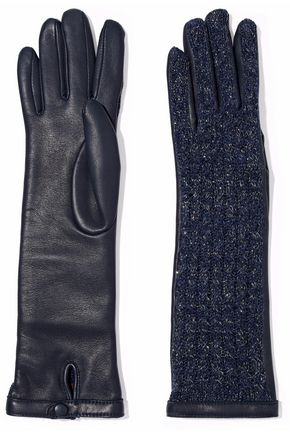 AGNELLE Keiko metallic alpaca and leather gloves