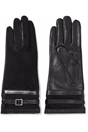 AGNELLE Buckled suede and leather gloves