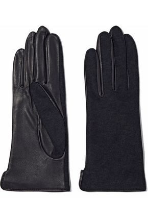 AGNELLE Cotton-jersey and leather gloves