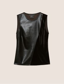 ARMANI EXCHANGE PIECED FAUX-LEATHER AND VELVET TOP Solid Top Woman r