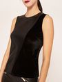 ARMANI EXCHANGE PIECED FAUX-LEATHER AND VELVET TOP Solid Top Woman b