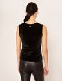 ARMANI EXCHANGE PIECED FAUX-LEATHER AND VELVET TOP Solid Top Woman e