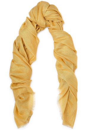 BRUNELLO CUCINELLI Frayed metallic cashmere and silk-blend scarf
