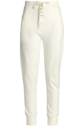 ANA HEART Lace-up cotton-blend track pants