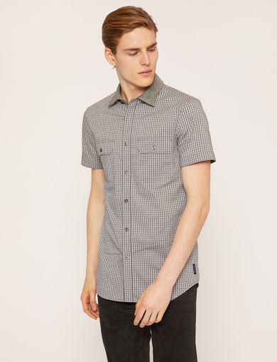 SLIM-FIT SHORT-SLEEVE CONTRAST GRID SHIRT