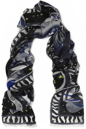 EMILIO PUCCI Frayed printed wool, silk and cashmere-blend scarf