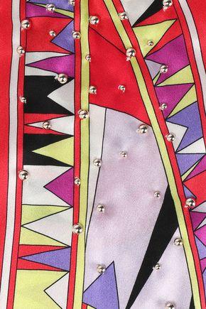 EMILIO PUCCI Embellished printed silk-satin scarf