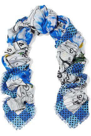 MARY KATRANTZOU Paint By Numbers printed modal and cashmere-blend twill scarf