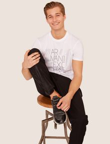 ARMANI EXCHANGE SLIM-FIT OPTICAL STRIPE METALLIC CREW Logo T-shirt [*** pickupInStoreShippingNotGuaranteed_info ***] a