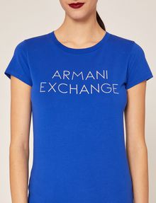 ARMANI EXCHANGE STUD ACCENT MINIMALIST LOGO CREW Logo T-shirt [*** pickupInStoreShipping_info ***] b