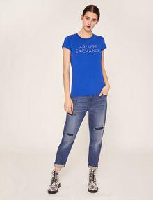 ARMANI EXCHANGE STUD ACCENT MINIMALIST LOGO CREW Logo T-shirt [*** pickupInStoreShipping_info ***] d