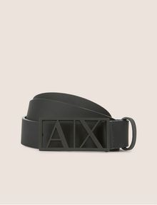 ARMANI EXCHANGE MATTE CUTOUT PLAQUE BELT Belt [*** pickupInStoreShippingNotGuaranteed_info ***] f