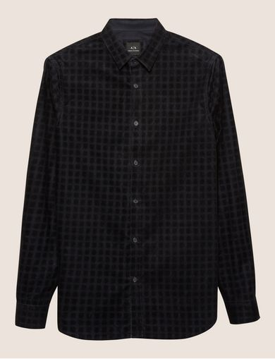 REGULAR-FIT FLOCKED DOT STRETCH SHIRT