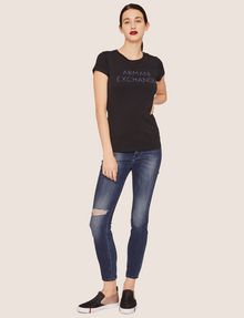 ARMANI EXCHANGE STUD ACCENT MINIMALIST LOGO CREW Logo T-shirt Woman d