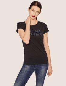 ARMANI EXCHANGE STUD ACCENT MINIMALIST LOGO CREW Logo T-shirt Woman f