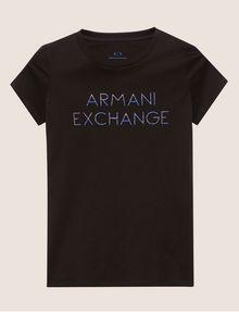 ARMANI EXCHANGE STUD ACCENT MINIMALIST LOGO CREW Logo T-shirt Woman r