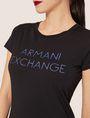 ARMANI EXCHANGE STUD ACCENT MINIMALIST LOGO CREW Logo T-shirt Woman b