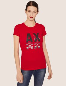 ARMANI EXCHANGE GLITTER LOGO REPEATER CREW Logo T-shirt [*** pickupInStoreShipping_info ***] f