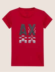 ARMANI EXCHANGE GLITTER LOGO REPEATER CREW Logo T-shirt [*** pickupInStoreShipping_info ***] r