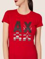ARMANI EXCHANGE GLITTER LOGO REPEATER CREW Logo T-shirt [*** pickupInStoreShipping_info ***] b