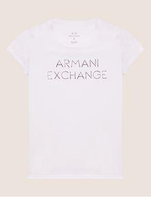 ARMANI EXCHANGE STUD ACCENT MINIMALIST LOGO CREW Logo T-shirt [*** pickupInStoreShipping_info ***] r