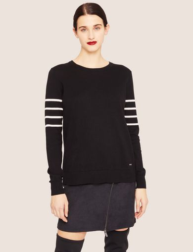 BRAIDED STRIPE BUTTON-BACK SWEATER