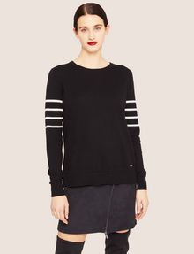 ARMANI EXCHANGE BRAIDED STRIPE BUTTON-BACK SWEATER Crew Neck Woman f