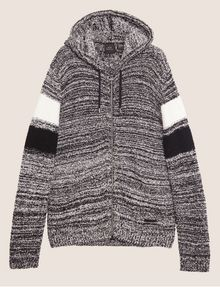 ARMANI EXCHANGE STRIPED ZIP-UP SWEATER HOODIE Hoodie [*** pickupInStoreShippingNotGuaranteed_info ***] r