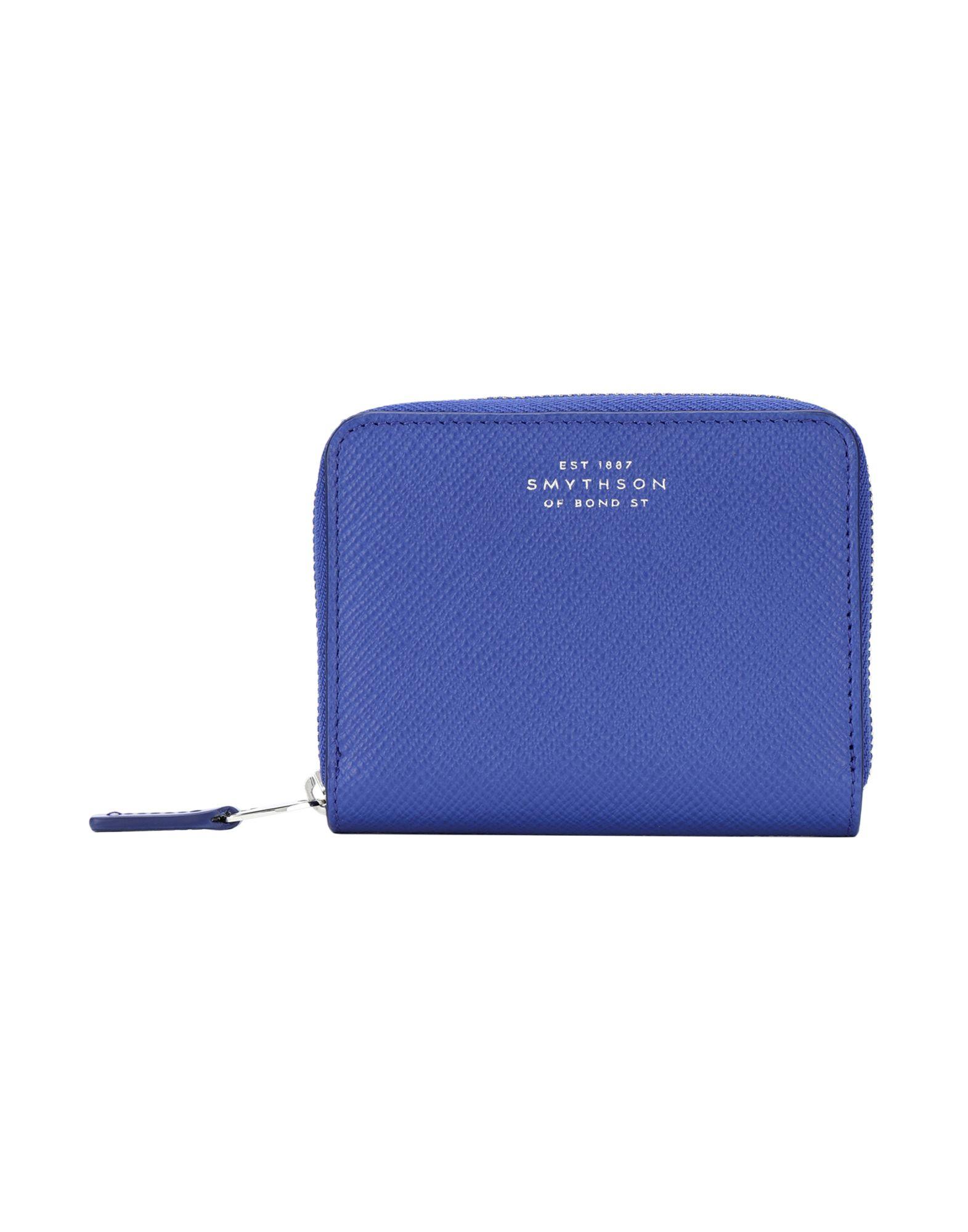 《送料無料》SMYTHSON レディース 財布 ブライトブルー 牛革(カーフ) 100% PANAMA zip coin purse 4CC