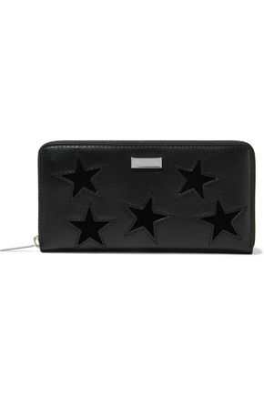 STELLA McCARTNEY Cutout velvet and faux leather continental wallet