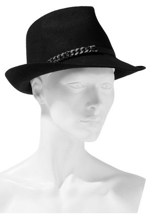 STELLA McCARTNEY Chain-embellished wool fedora