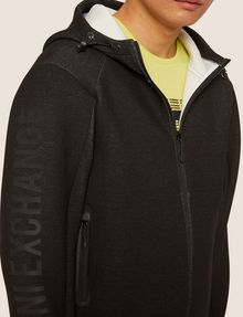ARMANI EXCHANGE LOGO SLEEVE BONDED ZIP-UP HOODIE Sweatshirt [*** pickupInStoreShippingNotGuaranteed_info ***] b