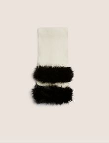ARMANI EXCHANGE FAUX-FUR STRIPED WOOL-BLEND SCARF Scarf [*** pickupInStoreShipping_info ***] d