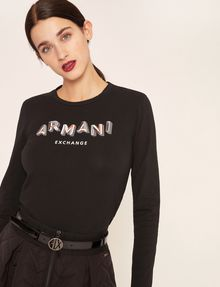 ARMANI EXCHANGE LONG-SLEEVED FRACTAL LOGO CREWNECK TEE Printed Top [*** pickupInStoreShipping_info ***] f