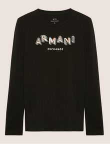 ARMANI EXCHANGE LONG-SLEEVED FRACTAL LOGO CREWNECK TEE Printed Top [*** pickupInStoreShipping_info ***] r