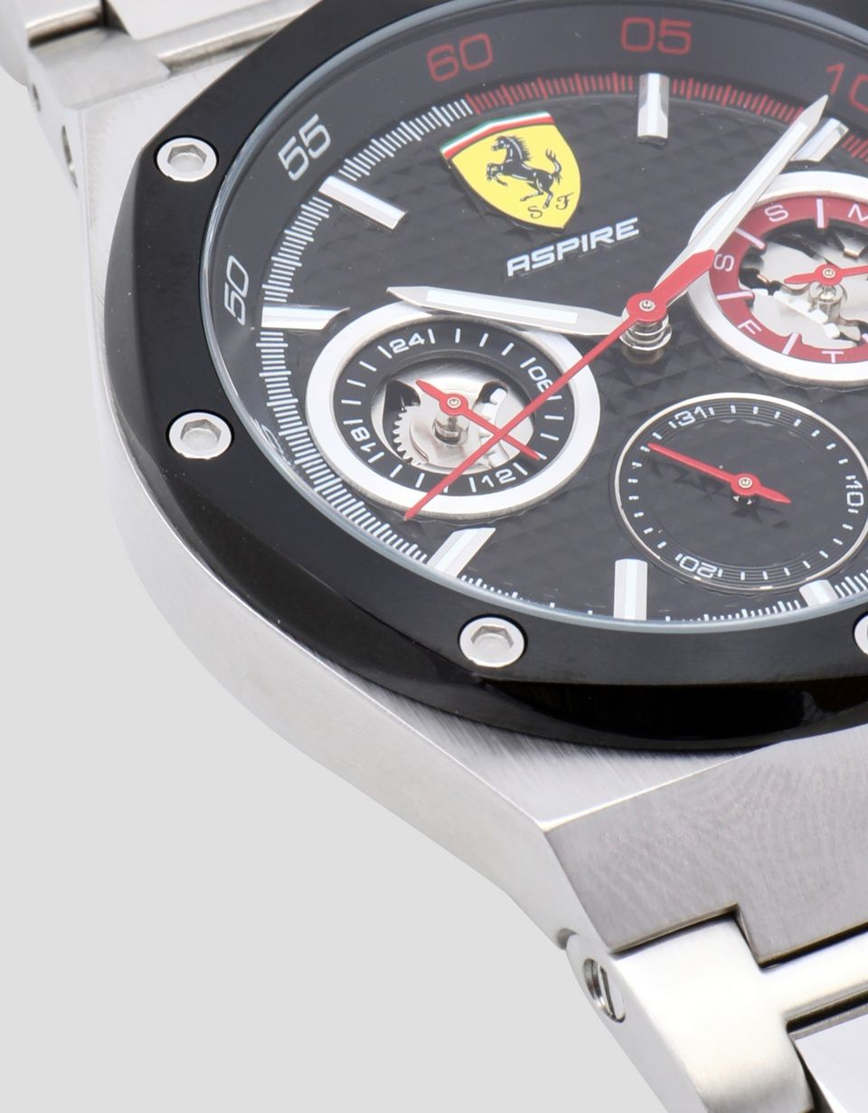 Scuderia Ferrari Online Store - Aspire multifunctional steel watch with black dial - Chrono Watches