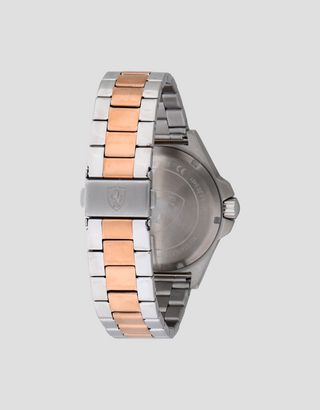 Scuderia Ferrari Online Store - Reloj Pilota de acero con detalles color oro rosa - Relojes de cuarzo