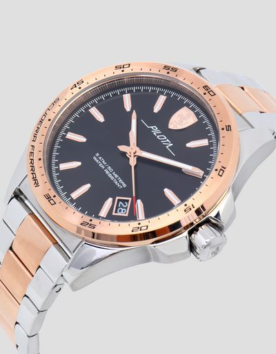 Pilota steel watch with rose gold tone detailing