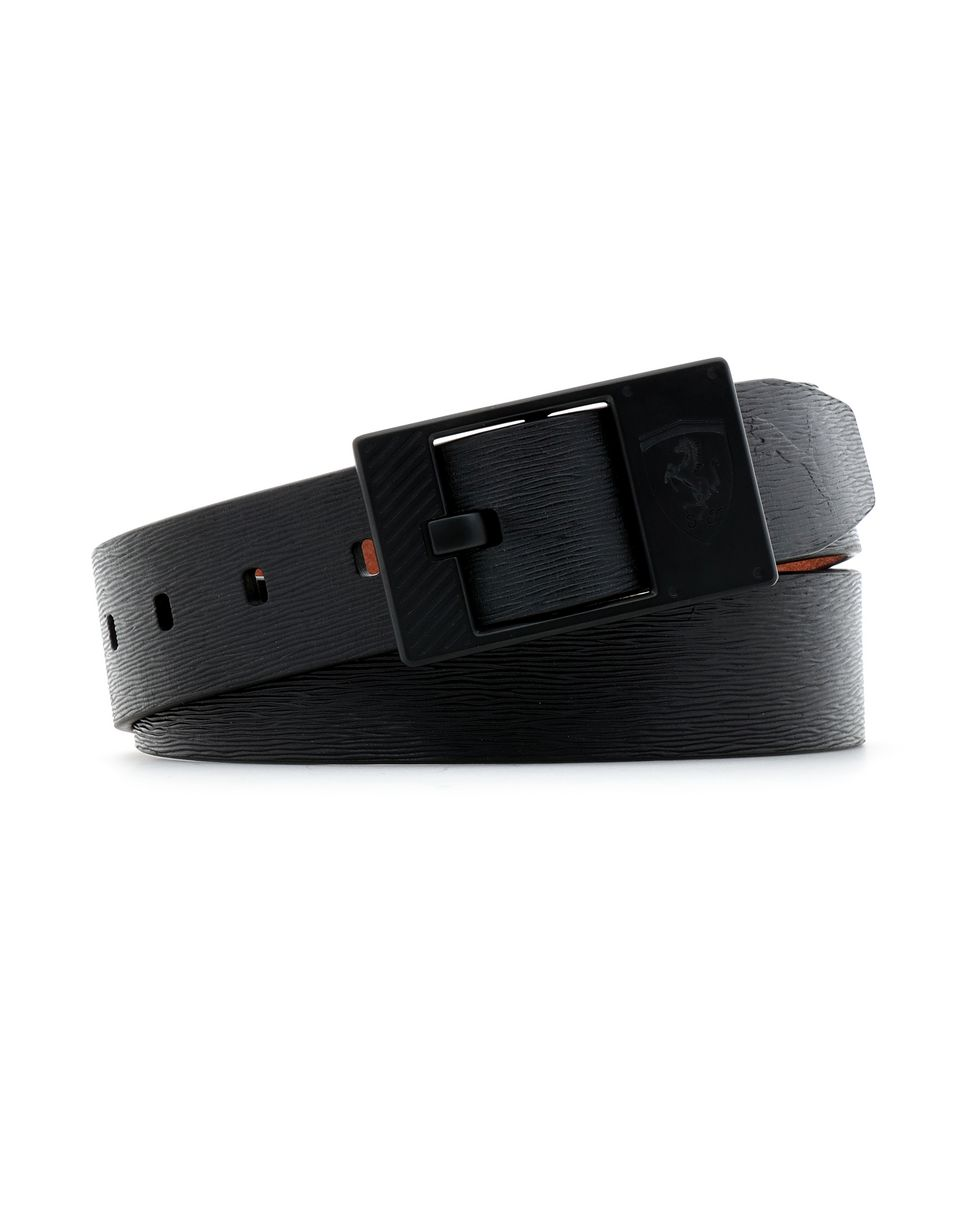 Scuderia Ferrari Online Store - Men's leather  Puma x Scuderia Ferrari belt - Regular Belts